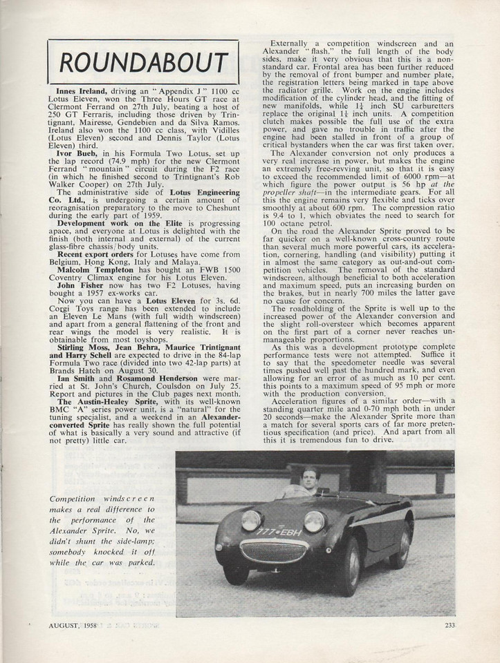 Sports Car and Lotus Owner 1958 August 1