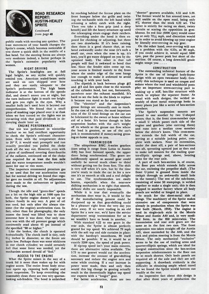 Car and Driver Road Research Report 1961 April 6