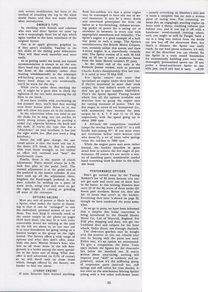 Car and Driver Road Research Report 1961 April 7