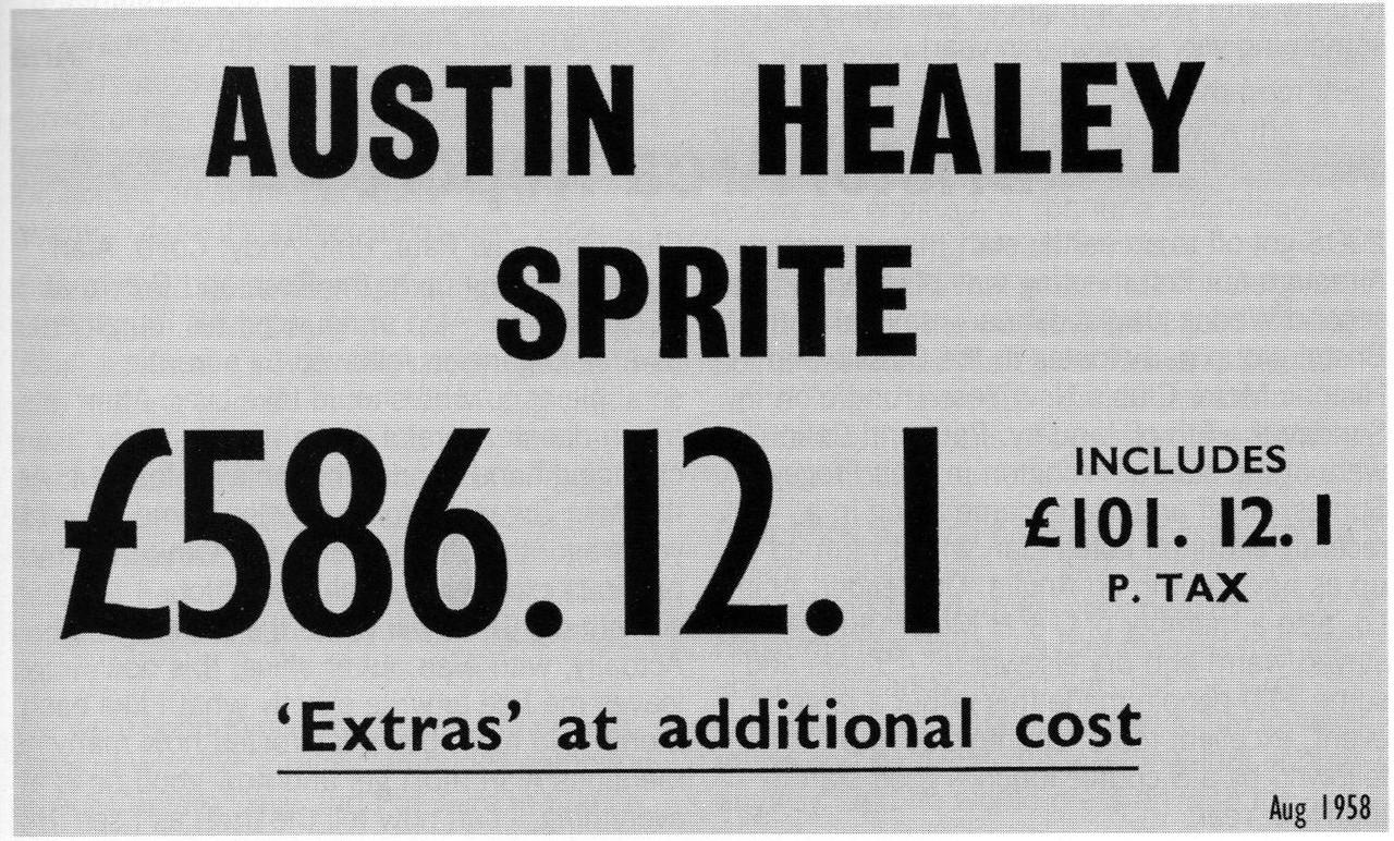 Austin Healey Sprite Price Tag