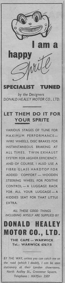 Donald Healey Motor Company I'm A Happy Sprite Long