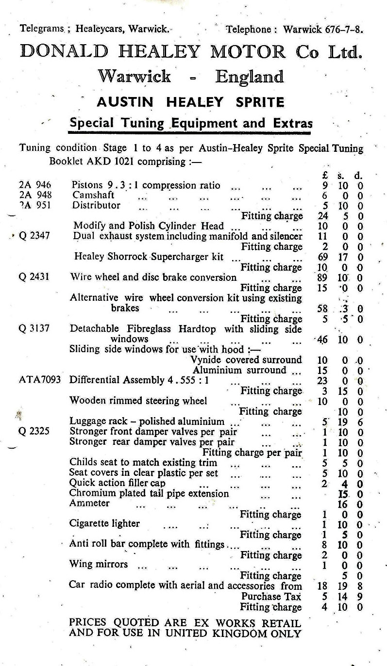 Donald Healey Motor Company Special Tuning Optional Extras