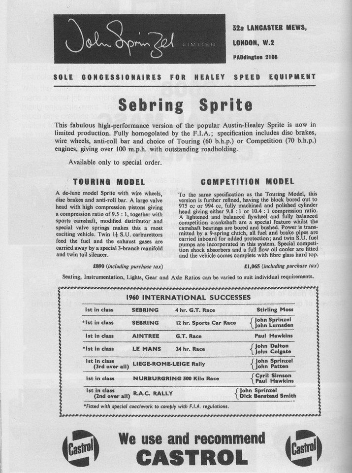 Sprinzel John Sprinzel Ltd Sebring Sprite