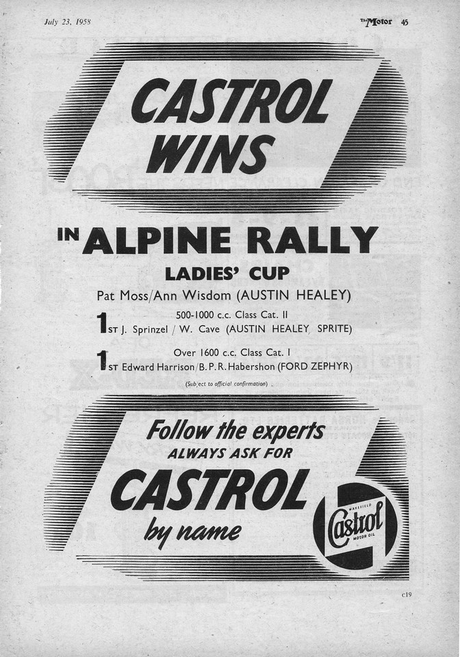 Castrol Wins Alpine Rally 1958 July