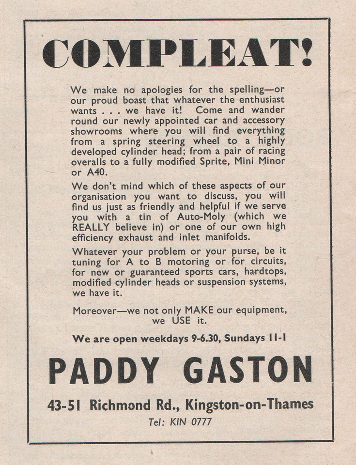 Paddy Gaston Motorsport 1960 April