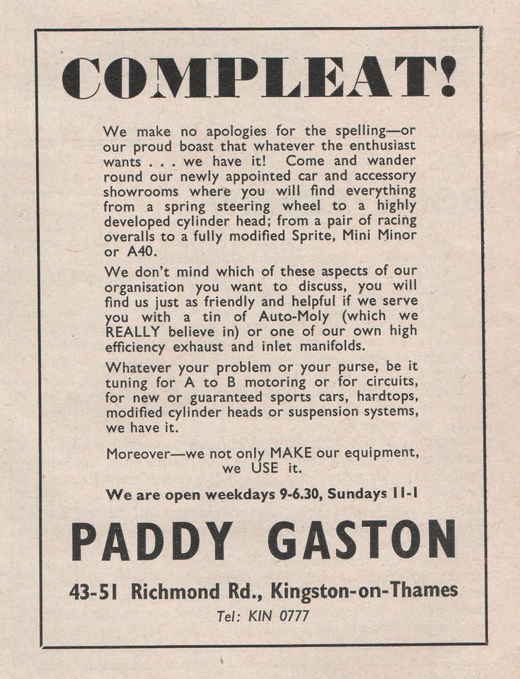 Paddy Gaston Motorsport 1960 April