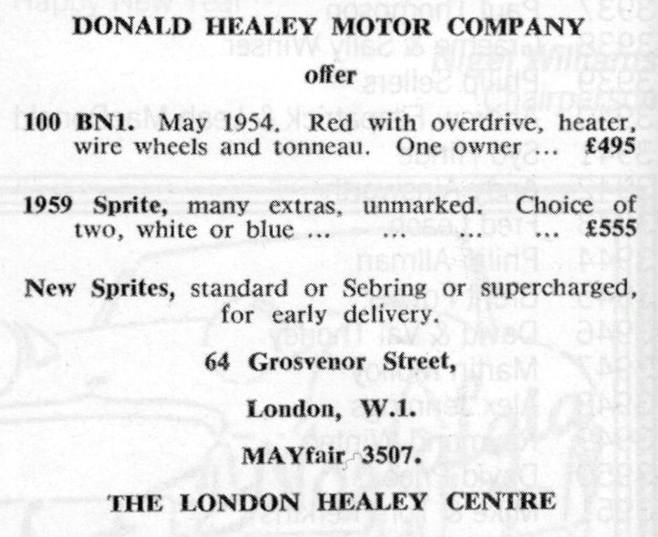Donald Healey Motor Company Offer