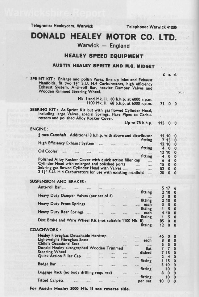 Donald Healey Motor Company Special Tuning Optional Extras 2