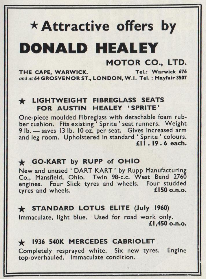 Donald Healey Motor Co Ltd Motor Sports 1960 March.