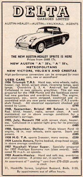 Delta Garages Ltd advert Autosport 1958 June