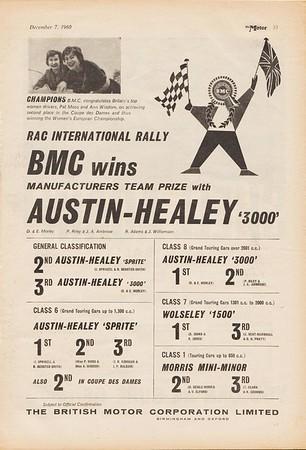 BMC Wins Manufacturers Team Prize 1960 December Motor
