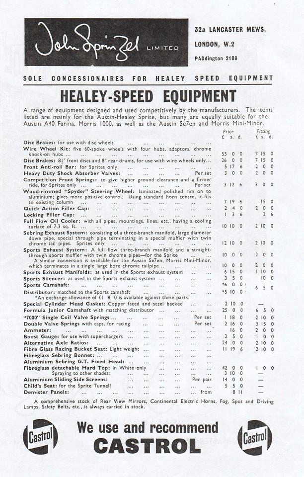 John Sprinzel Healey Speed Equipment
