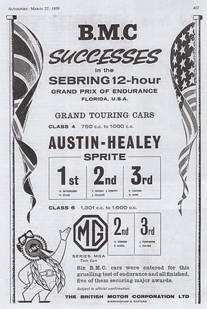 BMC Successes Sebring 12 Hour Autosport 1959