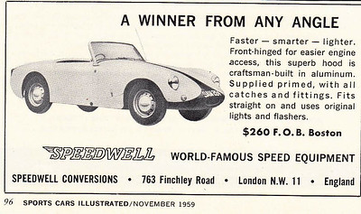 Speedwell Sports Cars Illustrated USA 1959 November