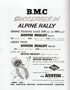 BMC 1958 19th 20th Alpine Rally