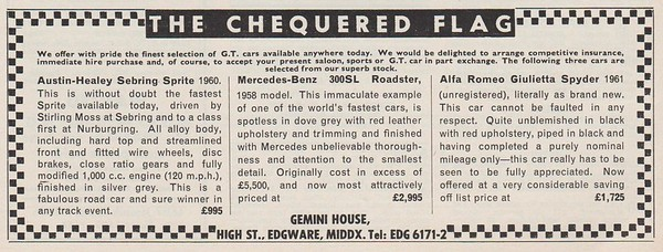 Chequered Flag Sebring Sprite for Sale Autosport  1961 July