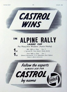 Castrol Wins Alpine Rally 1958 August Motor Sport