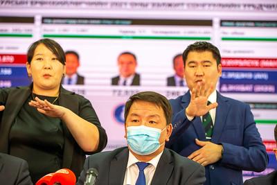 2021 оны зургадугаар сарын 10. Сонгуулийн Ерөнхий хорооноос Монгол Улсын Ерөнхийлөгчийн 2021 оны ээлжит сонгуулийн урьдчилсан дүнгийн талаар мэдээлж байна. ГЭРЭЛ ЗУРГИЙГ Б.БЯМБА-ОЧИР/MPA