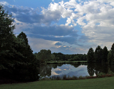Clouds and upper pond