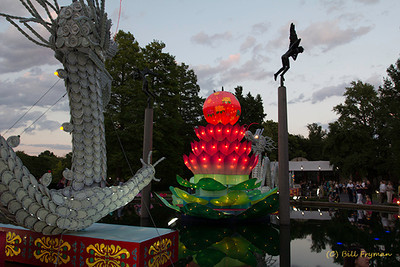 Porcelain Dragon -- As night falls, the colors of the displays change from very muted when the lanterns are first lit to very bright when it becomes fully dark.