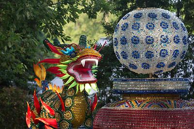 Guarding this ornate jeweled lantern