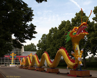Most of the barriers are down around this dragon at the Garden entrance.