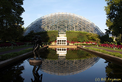 Another view of the Climatron and the reflecting pools.