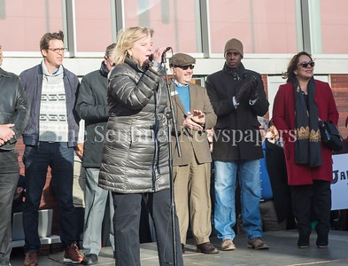 County Council President Nancy Floreen, speaks with members behind. 2016 11 20 Montgomery County Unity Rally
