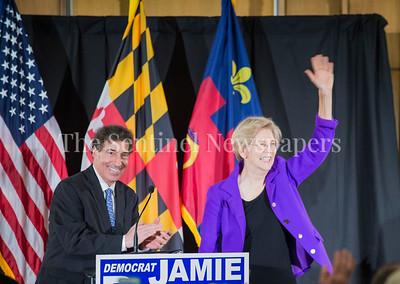 Jamie Raskins introducing Senator Elizabeth Warren (D-MA) at Jamie Raskins Democratic Resistance Revival in Silver Spring MD