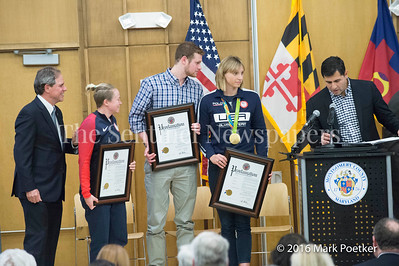 Montgomery County Council President Roger Berliner, Ashley Nee From Darnestown, Graduate of NWHS, Jack Conger, Rockville Native, Graduate of Our Lady of Good Council, Katie Ladecky from Bethesda, Graduate of Stone Ridge School, Gabe Albornoz, Director of Montgomery County Recreation Department, 12 19 2016 Montgomery County Recognizes 4 Olympians from County.