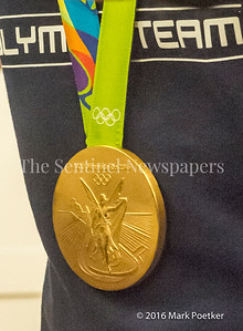 One of Katie Ladecky's Gold Medals. 12 19 2016 Montgomery County Recognizes 4 Olympians from County.
