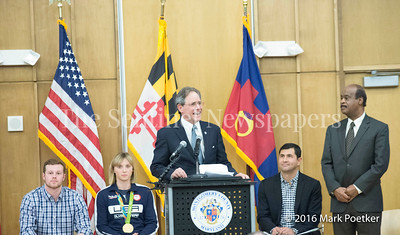 Montgomery County Council President Roger Berliner, 12 19 2016 Montgomery County Recognizes 4 Olympians from County.