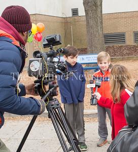 Jack (4th grader) and Ryan (1st grader) get interviewed about their bench. 02 03 2017 Jones Lane ES Friend Bench