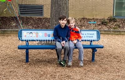 Jack and Ryan Golub test out the new bench. 02 03 2017 Jones Lane ES Friend Bench
