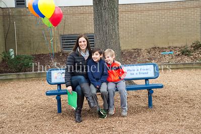 Annette, Jack, and Ryan Golub. 02 03 2017 Jones Lane ES Friend Bench