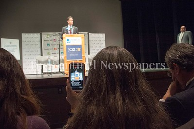 Lady live streaming event while Congressman John Sarbanes (D-MD-3) speaking. 03 03 2017 JCC Hate Crime Solidarity Event