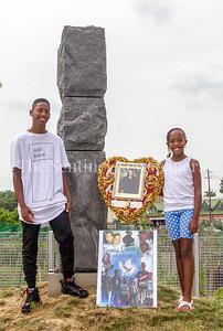 Raja Williams (Left) and Ava DeBose (R) children of crash victim, Veronica DeBose. 06 22 2017  Legacy Memorial Park - 8 years after metro train crash that killed 9 people.