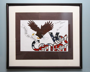 George P. Smith/The Montgomery Sentinel    Vet Center - Keeping the Promise signed by Michelle Obama and Jill Biden, hangs in the waiting area of the Silver Spring Vet Center on Linden Lane.