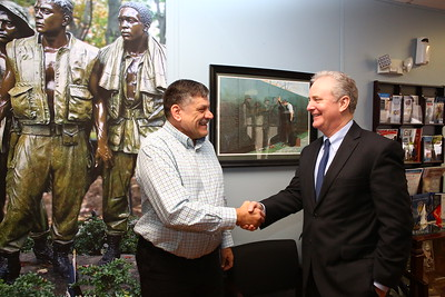 George P. Smith/The Montgomery Sentinel    Silver Spring Vet Center Director Wayne L. Miller, a Licensed Master Social Worker and US Marine Corps veteran who served in Vienam, greets U.S. Sen. Chris Van Hollen during a recent visit to the Center.