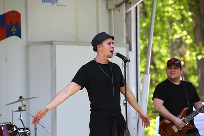 George P. Smith/The Montgomery Sentinel    Milton Rocco, lead singer and manager for the Latin Pop/Rock Band Ocho de Bastos who performed at the Fifth Annual Montgomery County GreenFest held jointly with Brookside Gardens' Earth Day Celebration on Sunday, April 28, 2019 at Brookside Gardens in Wheaton.