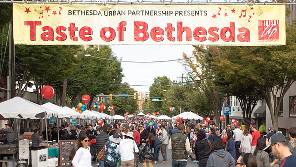 October 5, 2019 - Thousand attend the 2019 Taste of Bethesda to enjoy 60 restaurants and five stages of entertainment to Bethesda's Woodmont Triangle. Photo by Mike Clark/The Montgomery Sentinel