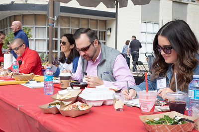 October 5, 2019 - The judges for the 2019 Taste of Bethesda dig in and enjoy the many diverse tastes of downtown Bethesda. Photo by Mike Clark/The Montgomery Sentinel