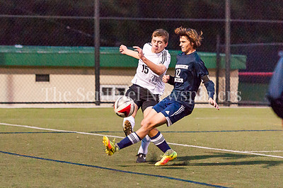 11/1/2016 - Magruder midfielder Zack Evans (12) & Wheaton's Evan Bearman (15), ©2016 Jacqui South Photography