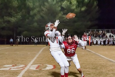 November 11, 2016 - With five minutes n the 3rd quarter, on a 4th and 31, Blair receiver Chris Butler makes this catch but is knocked out of bounds by defender Joe Beville (86) just inches from the first down.
