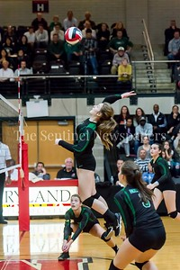 11/20/2016 - Kaylen Bernota (5) and Sarah Noland (3) get set as teammate Sara Gruber (11) spike the ball in the 3A Championship Volleyball game vs. Atholton, ©2016 Jacqui South Photography