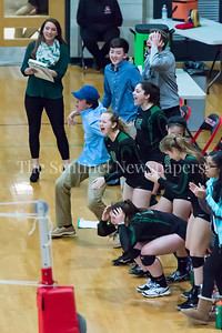 11/20/2016 - The Damascus bench cheers after a point during 3A Championship Volleyball game, ©2016 Jacqui South Photography