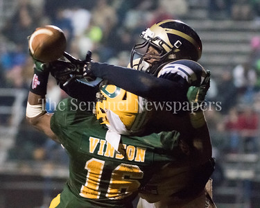 Damascus's Markus Vinson disrupts a would be touchdown pass  for Pototmac.