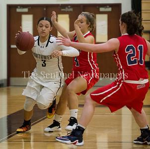 Northwest LaurelCotton (3), Wootton High School forward Emma Weinstein (4), Wootton High School forward Crystal Bridge (21), 12 06 2016 Opening Girls Basketball game. Northwest High School v Wootton High School.