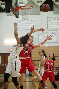 MariahEllis (2) , Wootton High School Zoey Goldberg (5), 12 06 2016 Opening Girls Basketball game. Northwest High School v Wootton High School.