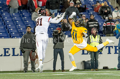 12/9/2016 - Wise safety Demetri Morsell (11) prevents QO receiver Brendan McGonagle (81) from this catch in the Maryland 4A Championship game between Quince Orchard and Wise, ©2016 Jacqui South Photography